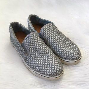 Bernie Mev. Silver Metallic Woven Slip On Sneakers